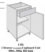 Single door laboratory classroom cabinet with pullout drawer