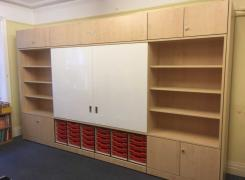 Teacher wall with sliding whiteboards and trays 4 metres. DELIVERED AND INSTALLED